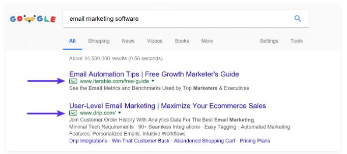 Quảng cáo Google ví dụ về cách tăng lưu lượng truy cập