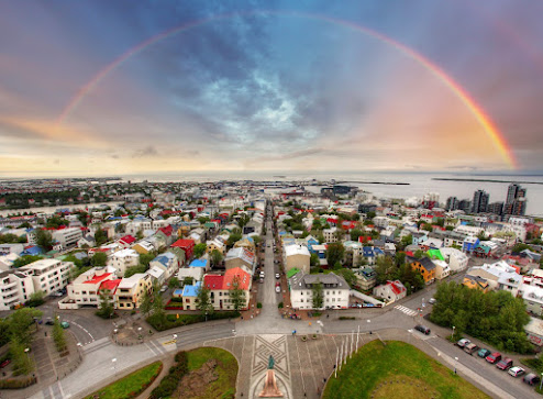 aerial view from Hallgrimskirkja church on Reykjavik downtown