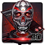 Neon 3D tech blood skull theme Icon