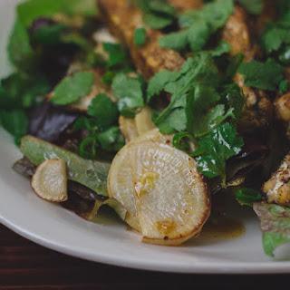 Pan-seared Rutabaga & Tempeh Salad With Sesame-honey Tamari Dressing.