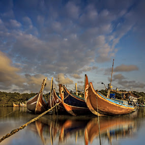 Kwartet by Ade Irgha - Transportation Boats ( clouds, bali, kelan beach, landscapes, boat )