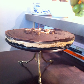 Chocolate Peanut Butter Cream Cheese Mousse Pie with Oreo Crust.