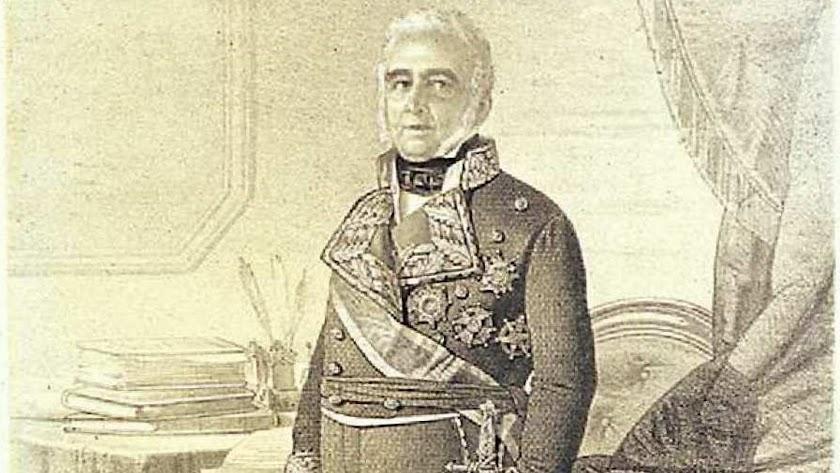 Francisco Figueras,  con su uniforme del Estado Mayor, en un grabado de Chamorro.