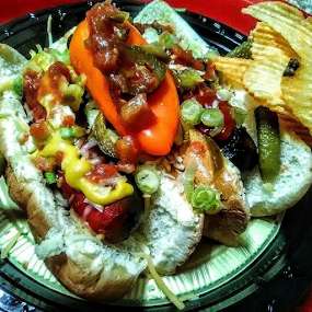 Diverse Dawgs by Carlo McCoy - Food & Drink Plated Food ( lunch, onions, peppers, chips, color, sauerkraut, spicy, hot, two, hot dog, dinner, bbq, special, plated, mustard, buns, grilled, veggies, chicago, sweet pickles )