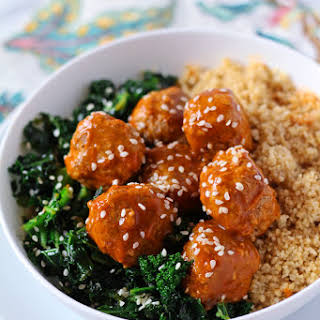 Sweet & Sour Turkey Meatballs with Sesame Kale and Couscous.