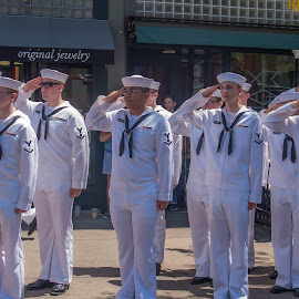 Saluting the Flag by Ruth Sano - People Street & Candids ( navy, military, respect, salute,  )