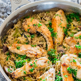 One Pot Creamy Chicken with Mushroom and Leek Rice