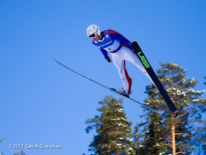 Photo: World Cup Ski flying Vikersund HS225 - Vegard Swensen, who made the first test jump in the new ski flying hill. Here in the trial round in the World Cup competition.