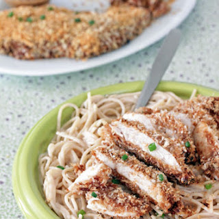 Peanut Butter Panko Chicken with Coconut Noodles.