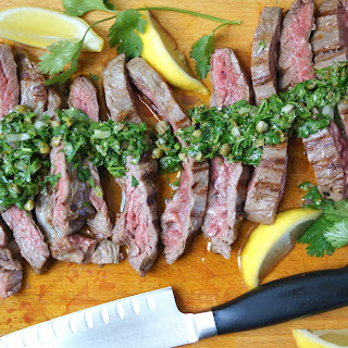Grilled Skirt Steak with Herb Salsa Verde.