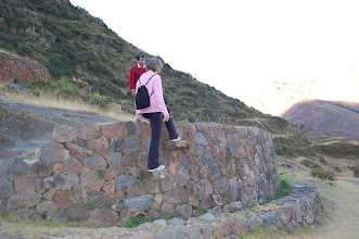 """Photo: Marcia tries out the """"flying steps"""""""