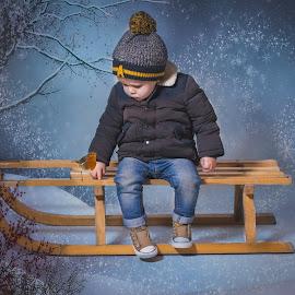 My little robin by Vix Paine - Babies & Children Child Portraits ( colour, christmas portrait, robin, xmas, magical, christmas backdrop, snow, christmas, sledge, toddler, christmas robin, , Christmas, card, Santa, Santa Claus, holiday, holidays, season, Advent )