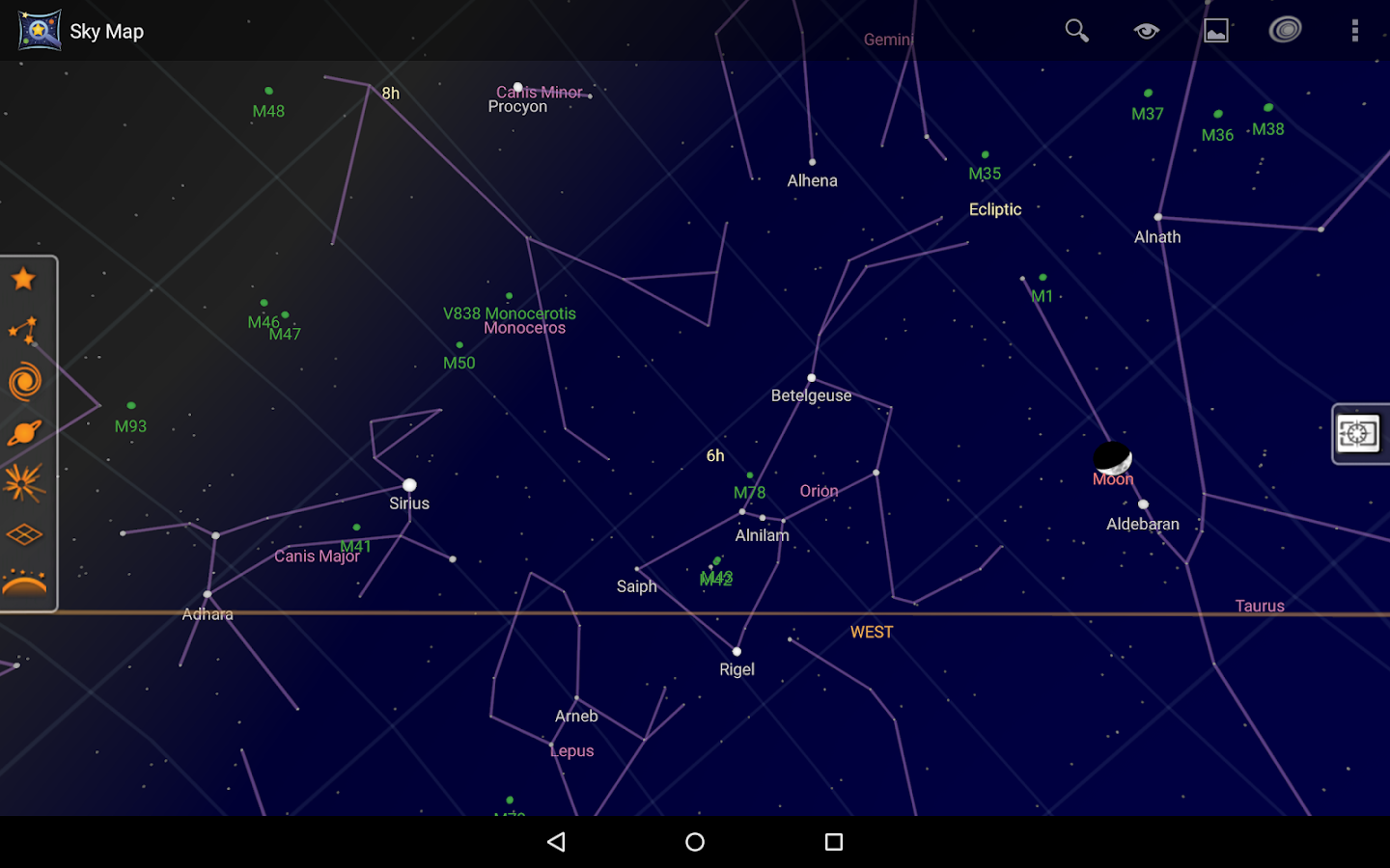 Screenshots of Sky Map for iPhone