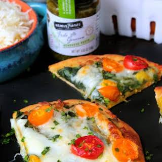 Spinach and Tomato Pesto Flatbread Pizza.