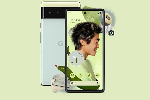 Google Pixel 6 Sorta Seafoam の正面と背面。