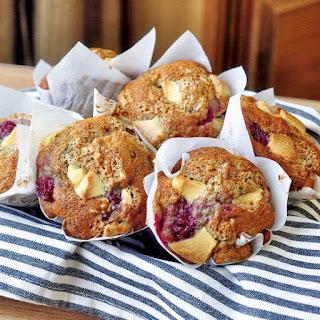 Banana Raspberry White Chocolate Muffins