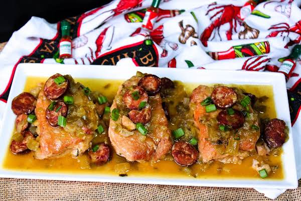 A Platter Of Louisiana-style Smothered Pork Chops.