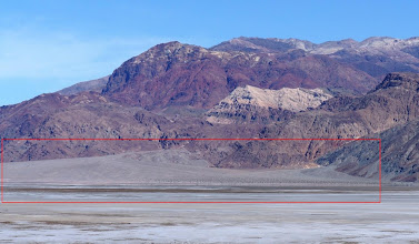 Photo: The outline shows an alluvial fan, which is a fan- or cone-shaped deposit of sediment crossed and built up by streams. For a satellite view of alluvial fans in Death Valley: http://goo.gl/maps/Q3Wr5