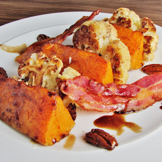Roast Cauliflower And Butternut Squash Salad With Bacon And Caramelised Pecans.