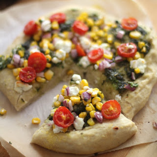 Sweet Corn, Pesto, and Goat Cheese Pizza.