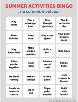 summer activities bingo