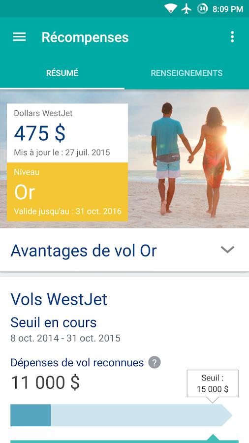WestJet– Capture d'écran