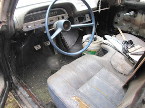 Photo: Someone put a import truck bench seat in there...  but look carefully and you see the clutch pedal and floor shift for the 4 speed. It's got a padded dash, looks to be original and un-damaged. I have a set of correct Bucket Seats to install in the car.  Obviously the interior needs a complete restoration!