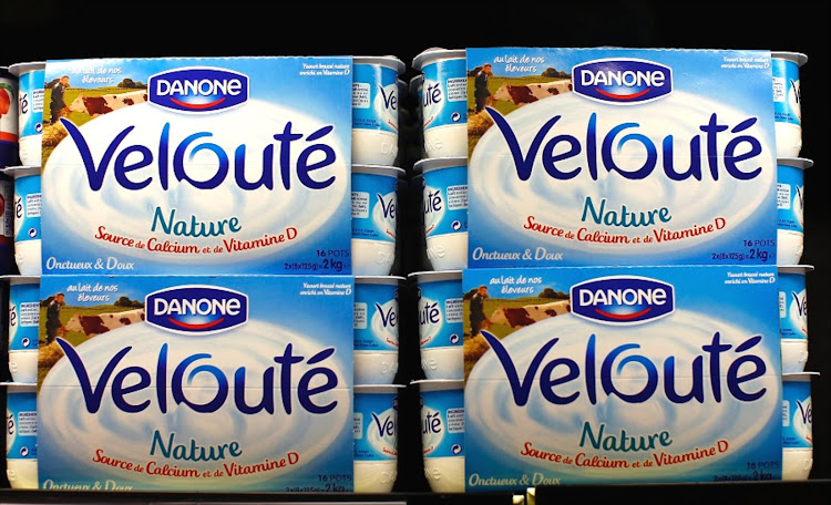 Yoghurt by French foods group Danone are displayed on supermarket shelves in Nice, France. Picture: REUTERS/ERIC GAILLARD