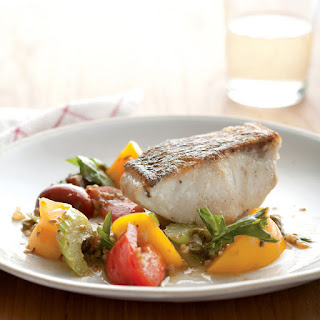 Striped Bass with Heirloom Tomato Scampi