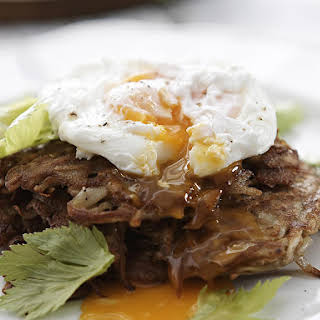 Celeriac and Potato Fritters with Poached Eggs.