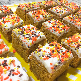 PUMPKIN BROWNIES WITH CREAM CHEESE FROSTING.