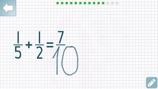 Adding Fractions Math Trainer app for Android screenshot