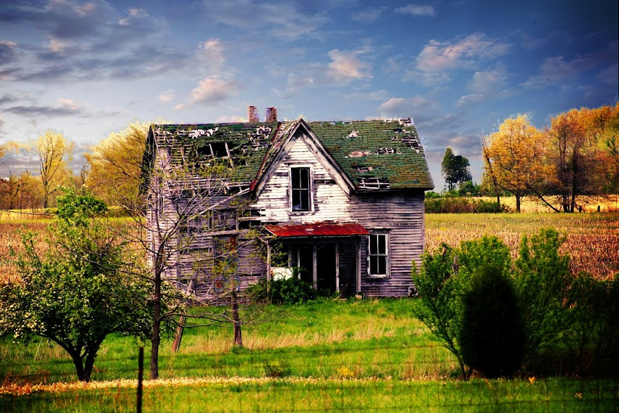 Abandoned by Kenneth Simmerman - Buildings & Architecture Homes ( fence, old home, blue skies, trees, green grass )