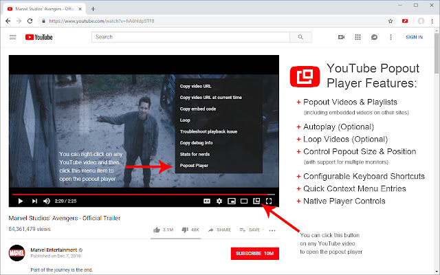YouTube Popout Player