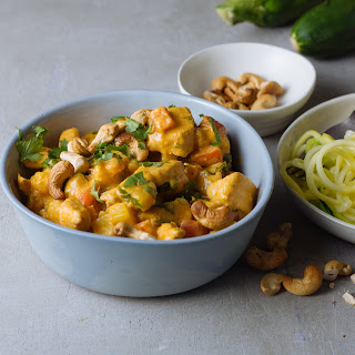 Red Thai chicken curry with courgetti & cashew nuts.