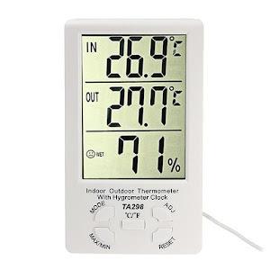 Termometru cu ceas si senzor umiditate, interior si exterior