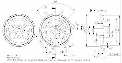 Photo: Dessin des roues finies (plan J-P Duval)