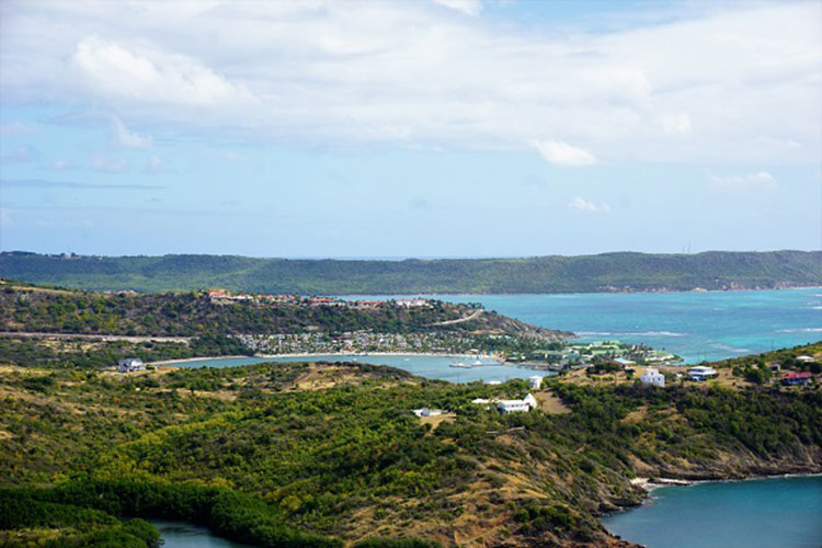 Mamora Bay and the eastern coast of Antigua.