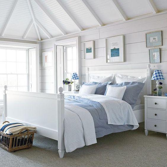 Beach Color Inspired in White Bedroom