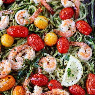 Sheet Pan Lemon Garlic Shrimp and Zucchini Noodles Recipe