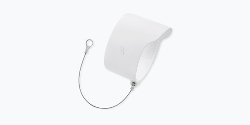 Angled view of Wasserstein Anti-Theft Mount for Google Nest Cam (outdoor or indoor, battery)with metal chain