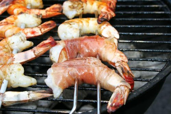 Smoked Prosciutto-wrapped Shrimp On Stir-fried Napa Cabbage & Sauerkraut Recipe