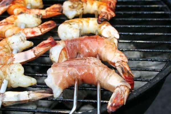 Smoked Prosciutto-wrapped Shrimp On Stir-fried Napa Cabbage & Sauerkraut