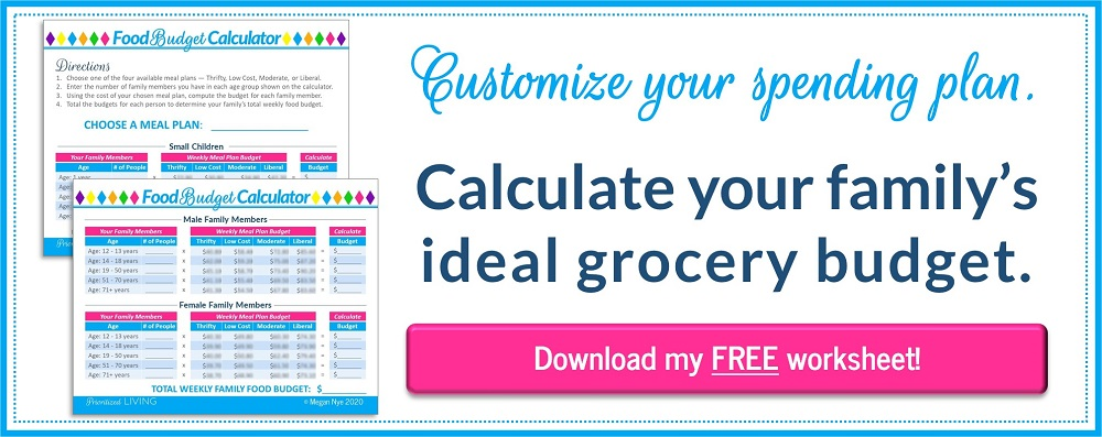 Calculate your family's ideal grocery budget. Download your FREE food budget calculator.
