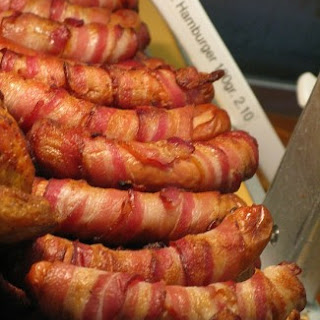 Mummy fingers!  (Bacon wrapped sausages)