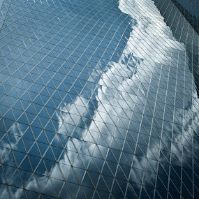 diamond on the sky by Budi Purwito - Abstract Patterns ( reflection, building, sky, patterns, blue, diamond, glass, pwcabstractdiamonds, architecture, skycraper, city )