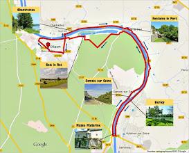 Photo: Itinéraire 28 km - e-guide circuit balade à vélo sur les Bords de Seine à Bois le Roi par veloiledefrance.com  Bike route 33 km - Cycling guide along the Seine River at Bois le Roi by veloiledefrance.com