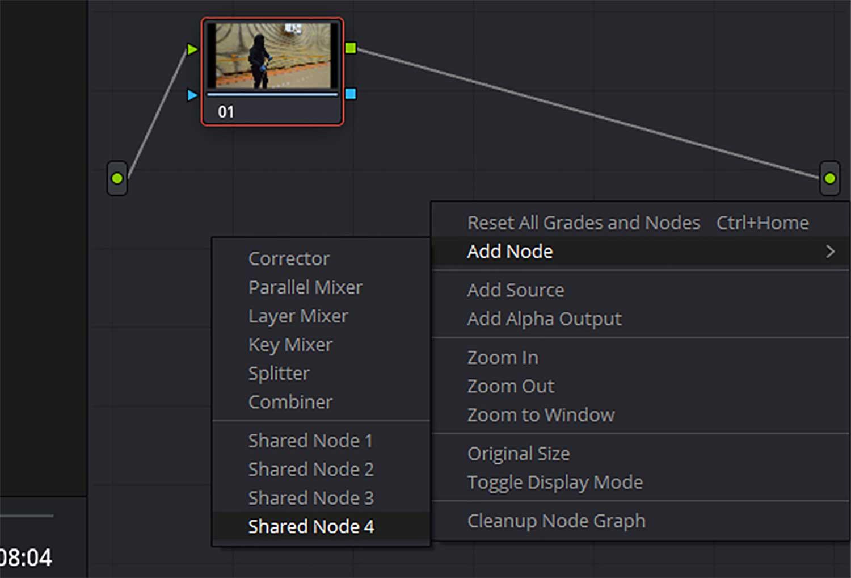 shared node in DaVinci resolve
