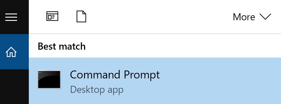 More V  Best match  Command Prompt  Desktop app