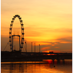 Sunrise @ Singapore Flyer by Arunkumar Boyidapu - Landscapes Sunsets & Sunrises ( flyer, giant wheel, orange, chilling, pleasant, sunrise, singapore, , silhouette )